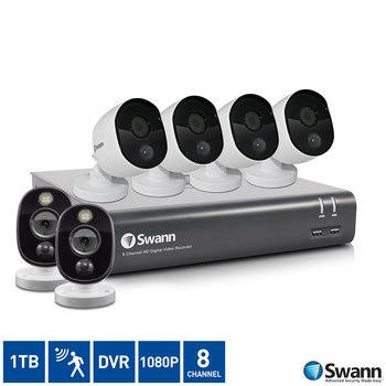 Swann 8 Channel 1TB DVR with 4 x 1080p Thermal Sensing & 2 x 1080p Thermal Sensing Sensor Warning Light Bullet Cameras