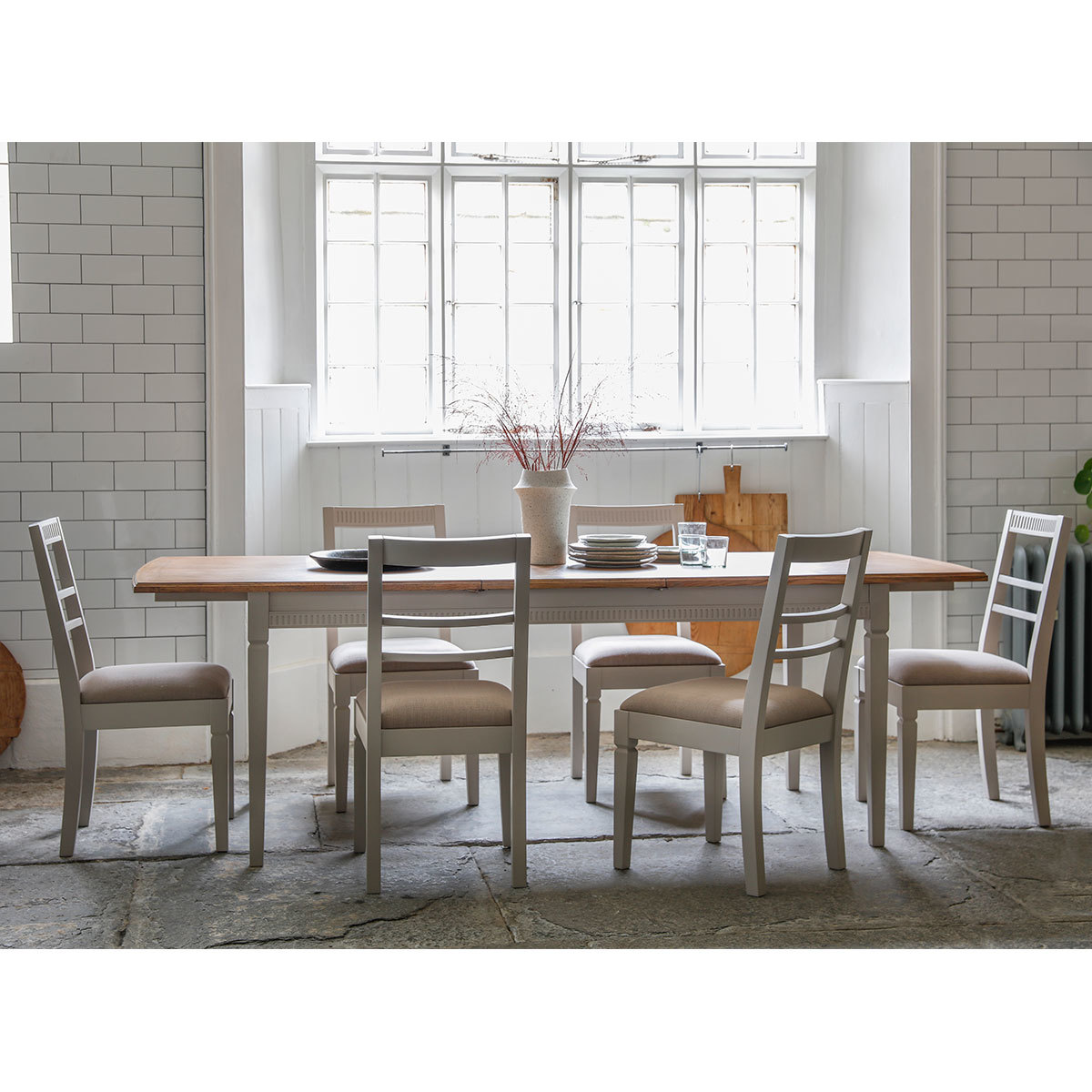 Bronte Painted Taupe Extending Dining Room Table 6 Chairs Taupe Costco Uk