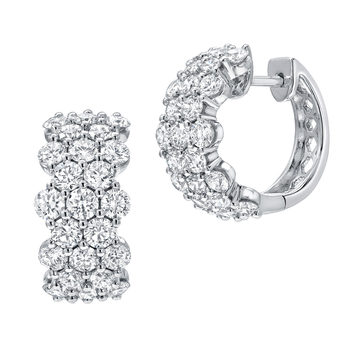 2.87ctw Round Brilliant Cut Diamond Hoop Earrings, 18ct White Gold
