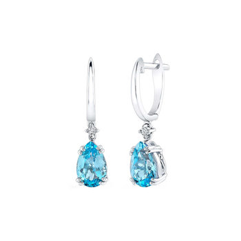 2.90ctw Pear Cut Blue Topaz and 0.02ctw Round Brilliant Cut Diamond Earrings, 14ct White Gold