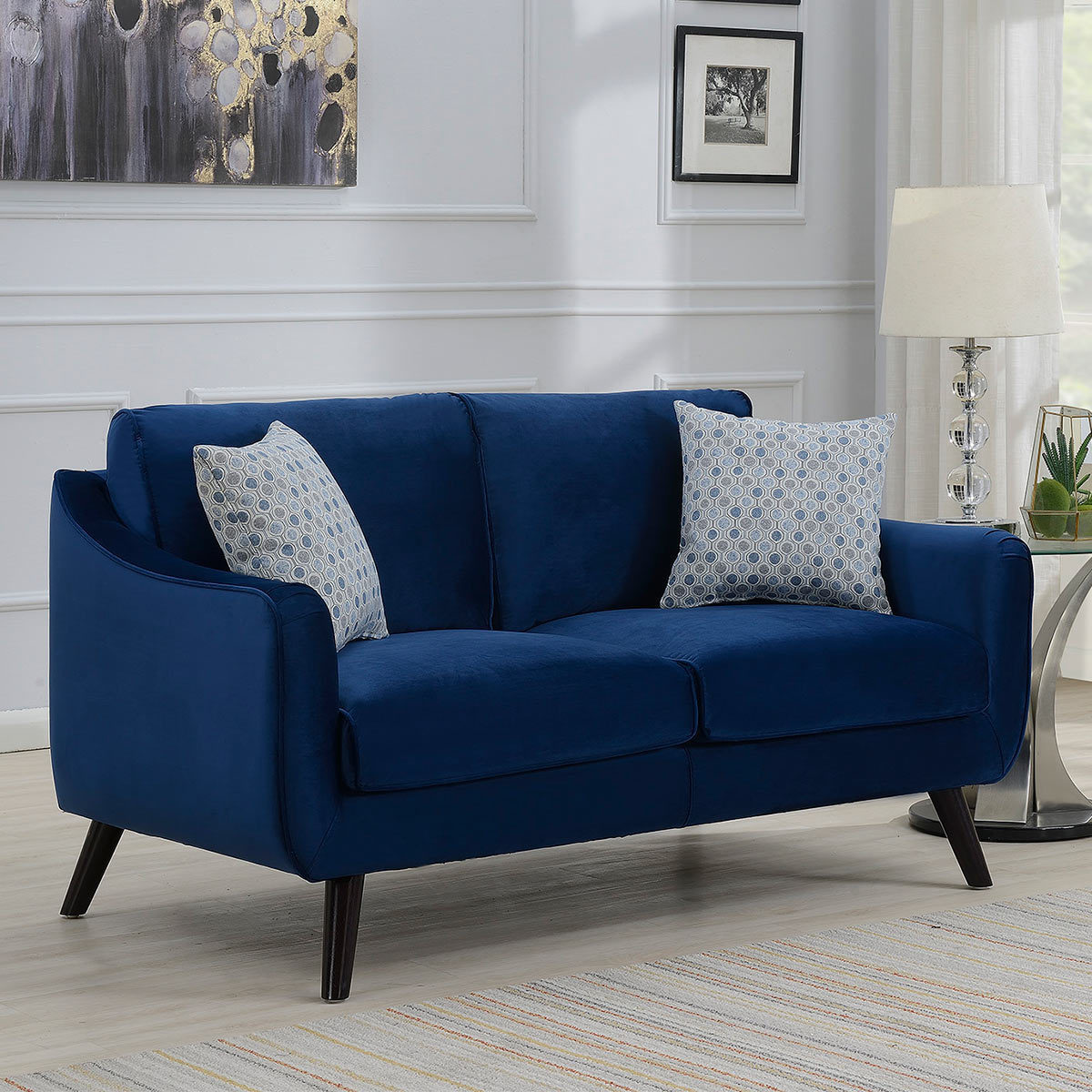 Bainbridge Blue Velvet 2 Seater Sofa Costco Uk