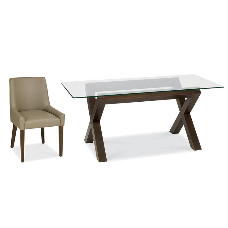 Bentley Designs Lyon Glass Top Walnut Dining Table With 6