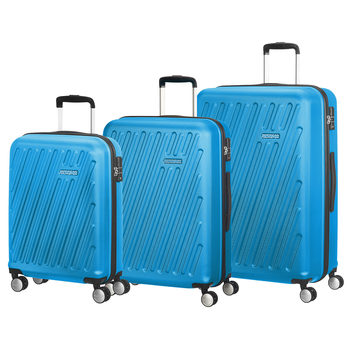 American Tourister Hypercube 3 Piece Hardside Suitcase Set, Light Blue