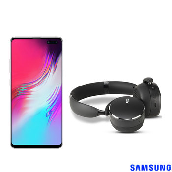 Samsung S10 5G 256GB Sim Free Mobile Phone in Crown Silver and AKG Y500 On Ear Headphones
