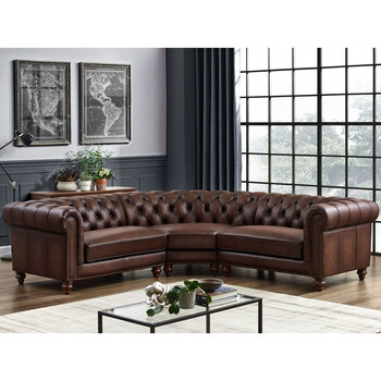 Lifestyle Image of Allington Leather Chesterfield Corner Sofa, Brown