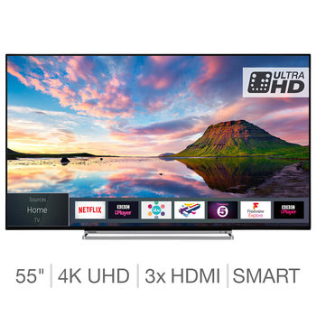 Toshiba 55U5863DB 55 Inch 4K Ultra HD Smart TV with HDR and Freeview Play