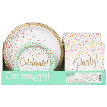 Confetti Celebration Party Pack - 50 Large Plates, 50 Small Plates and 100 Napkins