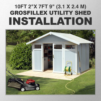 "Installation for Grosfillex Utility 10ft 2""x 7ft 9"" (3.1 x 2.4 m) Shed in 2 Colours - Model Utility 7.5"