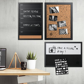 Bi-Office Black and White Personal Message Boards - Pack of 3