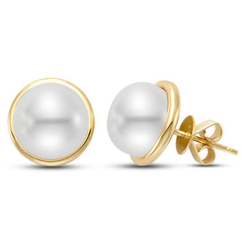 9-10mm Cultured Freshwater White Pearl Stud Earrings, 18ct
