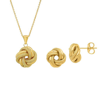 14ct Yellow Gold Love Knot Earring and Pendant Set