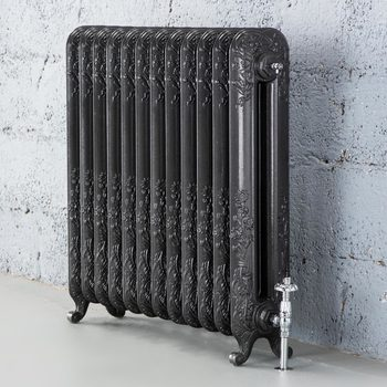 Arroll Daisy 2 Column (790 x 812mm) 12 Section Cast Iron Radiator in 2 Colours with Chrome or Copper Thermostatic Valves