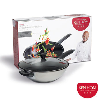 Ken Hom Non-Stick Stainless Steel 32cm Wok with Lid