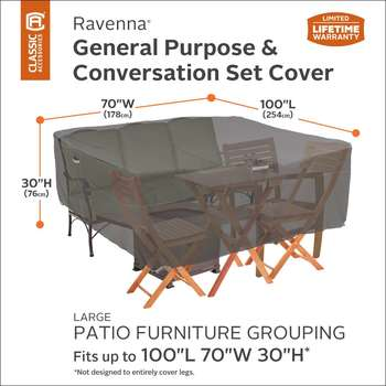 Classic Accessories Ravenna Large General Purpose Patio Furniture Set Cover
