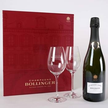 Bollinger Grand Annee Champagne Gift Set 2007, 75cl with 2 Flutes