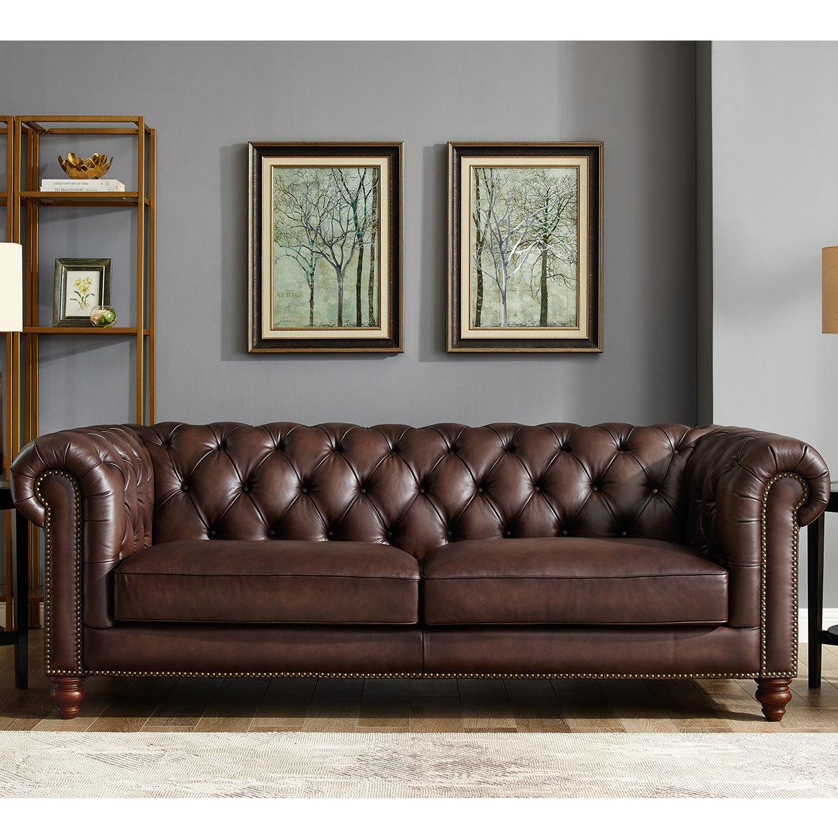 Allington 3 Seater Brown Leather Chesterfield Sofa Costco Uk