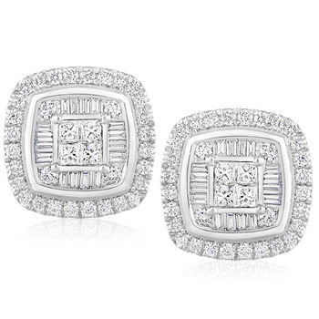 0.80ctw Round Brilliant, Baguette and Princess Cut Diamond Earrings, 18ct White Gold