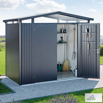 "Biohort Panorama P4 9ft x 9ft 1"" (2.7 x 2.8m) Double Door Steel Shed in 2 Colours"
