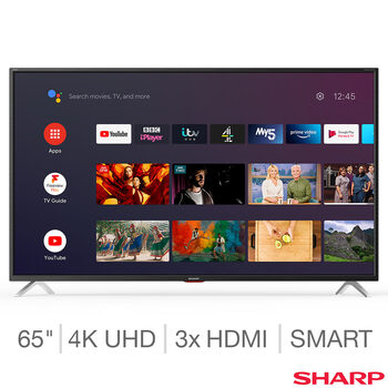 Sharp 4T-C65BL5KF2AB 65 Inch 4K Ultra HD Smart Android TV