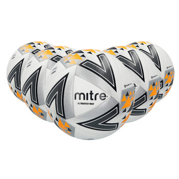 Mitre Ultimatch Max Top-Level Match Football (Size 5) - Pack of 5 With Carry Bag and Pump