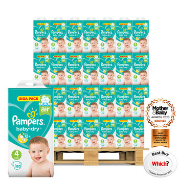 Pampers Baby-Dry Nappies Size 4, 54 x 120 Giga Packs