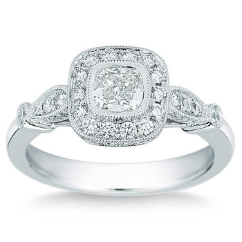 1.00ctw Cushion and Round Brilliant Cut Diamond Ring, Platinum