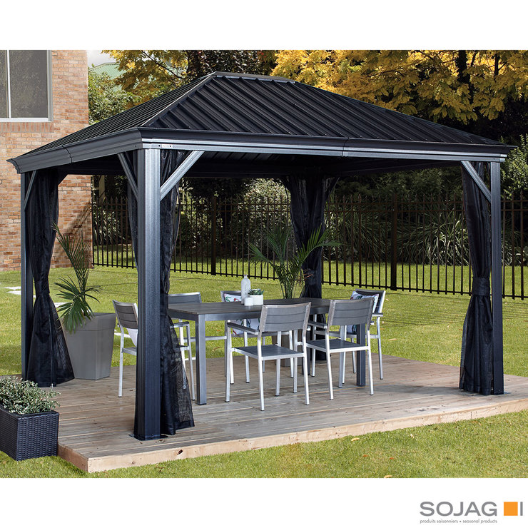 Sojag Marsala 10ft X 12ft 2 98 X 3 63m Sun Shelter With Galvanised Steel Roof Insect Netting Costco Uk