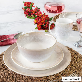 Over & Back Alabaster Stoneware 16 Piece Dinnerware Set in 2 Colours