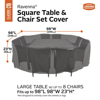 Classic Accessories Ravenna Large Square Table and Chairs Cover