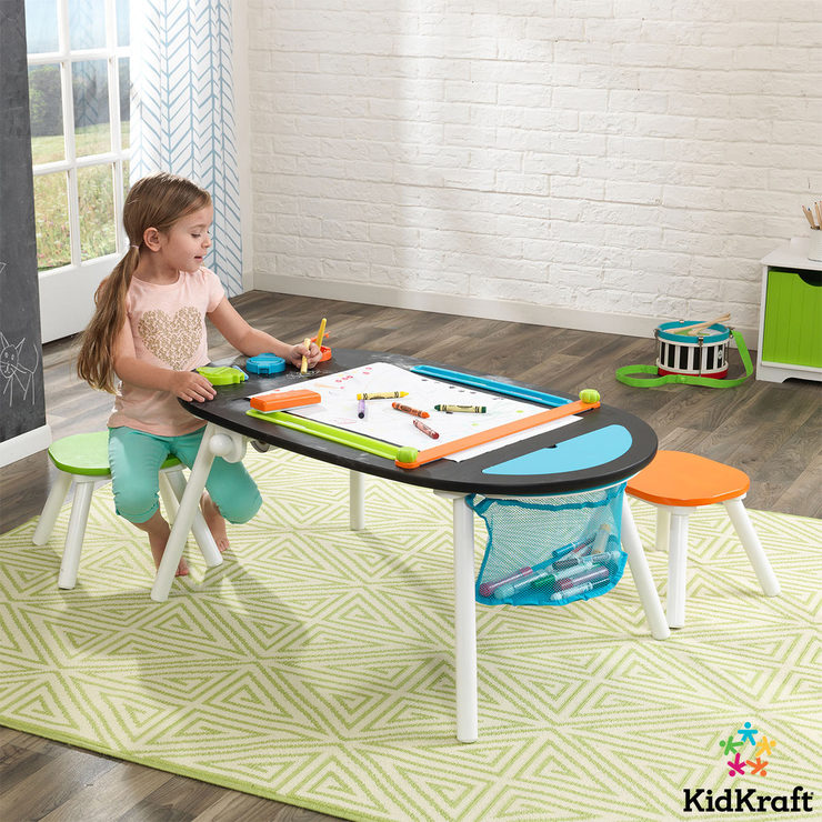 KidKraft Deluxe Chalkboard Art Table With Stools (3+ Years)