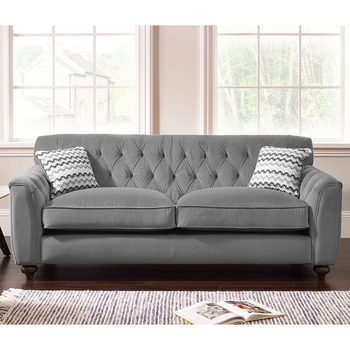 Avante Button Back 3 Seater Fabric Sofa with 2 Accent Pillows in 2 Colours