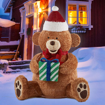 7ft (2.13 m) LED Pop Up Fluffy Bear with Christmas Hat