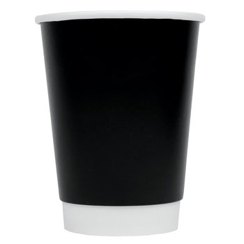 12oz Double Wall Black Hot Cups, 500 Pack