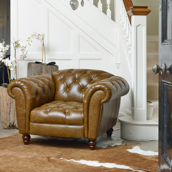 Wellington Semi Aniline Leather Chesterfield Armchair, Caramel