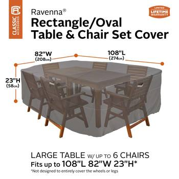Classic Accessories Ravenna Large Rectangular/Oval Patio Table and Chair Set Cover