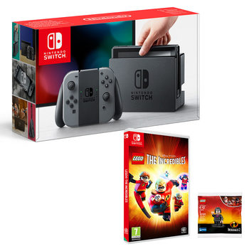 Nintendo Switch in Grey with LEGO Incredibles and LEGO Edna Figurine