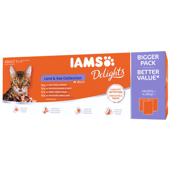 IAMS Delights Land and Sea Mixed Adult Cat Pouches, 48 x 85g