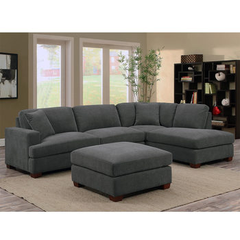 Bainbridge Home 3 Piece Grey Fabric Sectional Sofa with Ottoman + 2 Accent Pillows