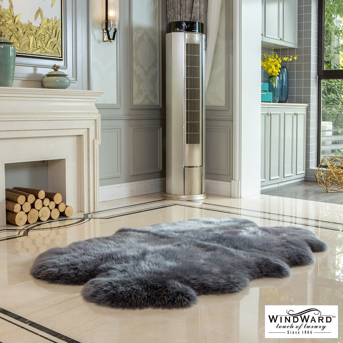 Picture of: Windward 100 Sheepskin Quad Rug Grey Costco Uk