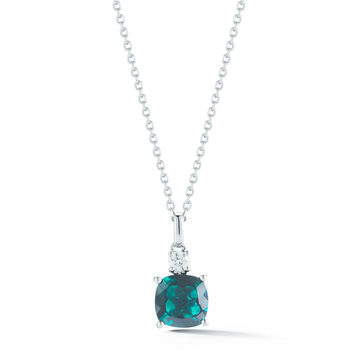 1.80ct Cushion Cut Lab Emerald and 0.11ctw Diamond Pendant, 18ct White Gold
