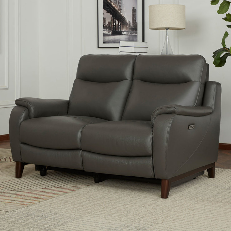 Kuka Barrett 2 Seater Grey Leather Power Reclining Sofa With Power Headrests Costco Uk