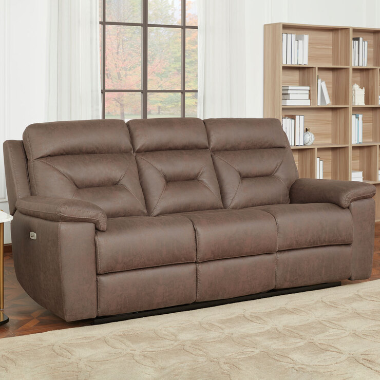 Gilman Creek Justin Brown Fabric Power, Brown Fabric Recliner Sofa 3 2