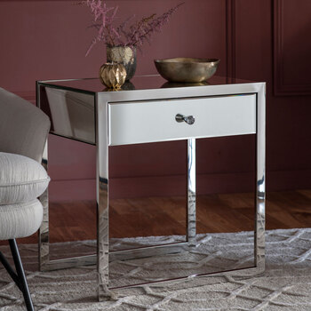 Gallery Fordwich 1 Drawer Mirrored Side Table