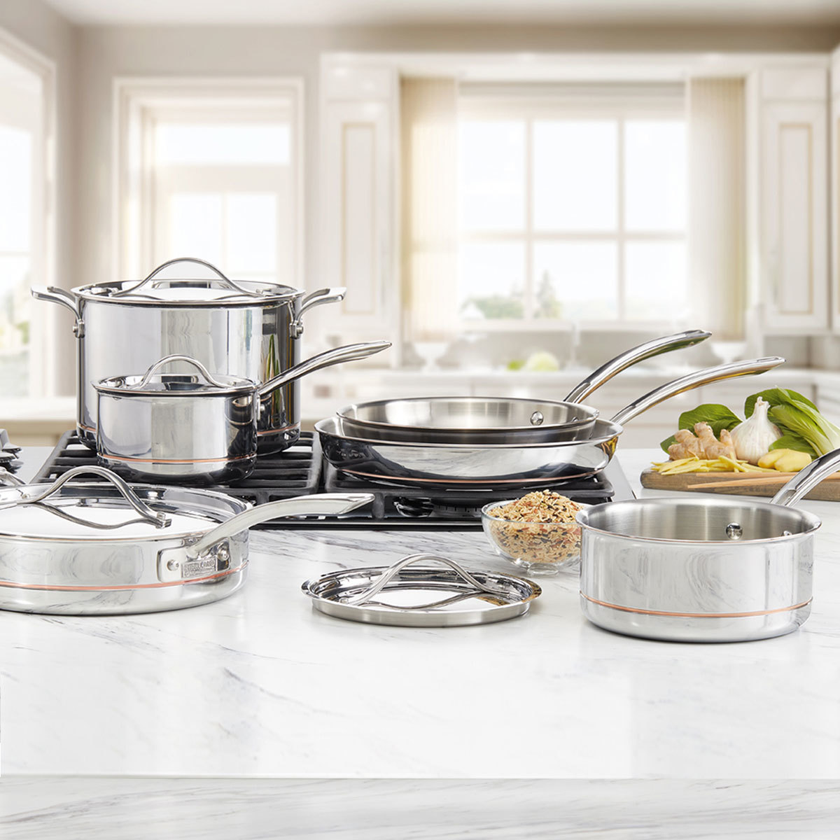 Kirkland Signature Stainless Steel 10 Piece Cookware Set  Costco UK