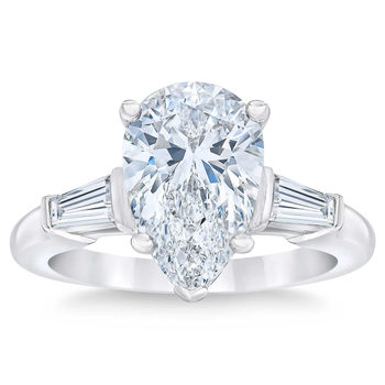 3.65ctw Pear Cut Diamond Baguette Ring, Platinum