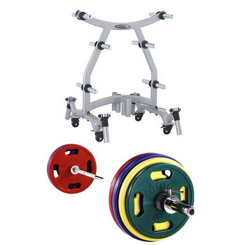 Steelflex® Weight Tree Rack with 165kg Colour Rubber Olympic Weight Set
