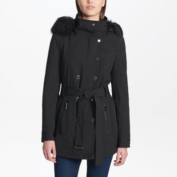 Andrew Marc Women's Softshell Jacket with Faux Fur Trim Hood in 3 Colours and 4 Sizes