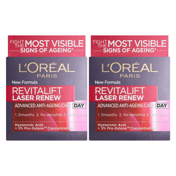 L'Oreal Revitalift Laser Renew Day Cream, 2 x 50ml