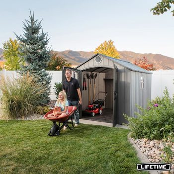 Lifetime Wood Look 8ft x 10ft (2.4 x 3m) Outdoor Storage Shed