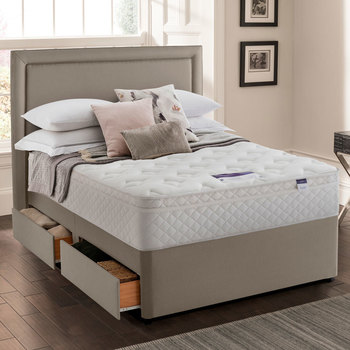 Silentnight Miracoil Memory Cushion Top Mattress and Divan in Sandstone in 4 Sizes